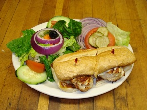 Our Chicken sandwich with a green salad is another lower calorie option. Skip the bun and it's a lowcarb winner.